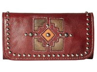 American West Annie's Secret Collection Tri Fold Wallet Distressed Crimson Distressed Charcoal Brown Golden Tan Wallet Handbags