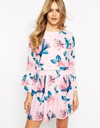 Dahlia Dress In Soft Floral Print Palepink