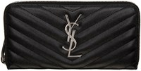 Saint Laurent Black Quilted Monogram Wallet