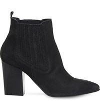 Office Loretta Pointed Nubuck Leather Boots Black Nubuck