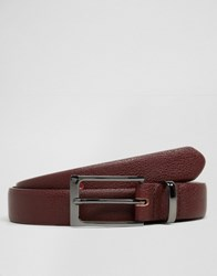 Asos Smart Belt With Metal Keeper Burgundy Red