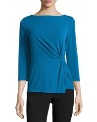 Tahari By Arthur S. Levine Side Knot Jersey Top Blue