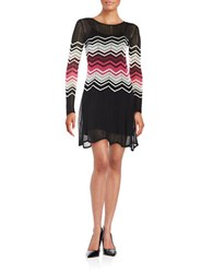 Trina By Trina Turk Zig Zag Patterned Fit And Flare Sweater Dress Black Multi
