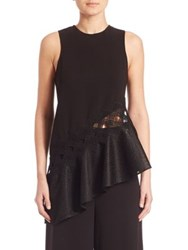 Jonathan Simkhai Asymmetric Mesh Diamond Tank Top Black