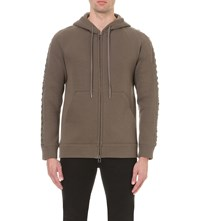 Helmut Lang Lace Up Sleeves Cotton Blend Hoody Olive Slate