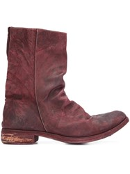 A Diciannoveventitre Peaked Vamp Derby Boots Red