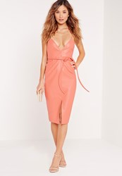Missguided Faux Leather Strappy Bodycon Dress Salmon Salmon