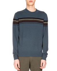 Dries Van Noten Mateo Striped Merino Wool Sweater Petrol Gray