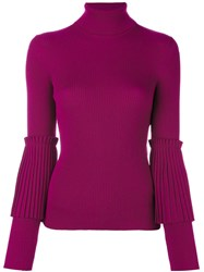 Salvatore Ferragamo Turtle Neck Jumper Pink And Purple
