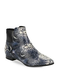Calvin Klein Eunice Snakeskin Embossed Leather Ankle Boots Black White