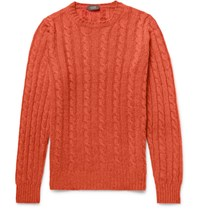 Incotex Cable Knit Virgin Wool Sweater Orange
