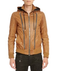 Balmain Hooded Leather Three Zip Jacket Brown Size 50
