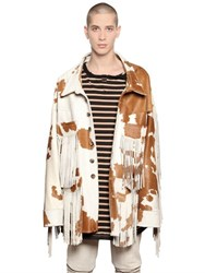 Faith Connexion Cow Printed Fringed Ponyskin Jacket