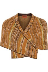 Missoni Metallic Crochet Knit Shrug Brown