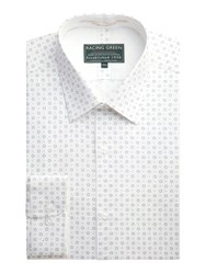 Racing Green Selwyn Print Formal Shirt White
