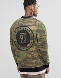 Asos Jersey Bomber Jacket With Camo Print And Wash Green