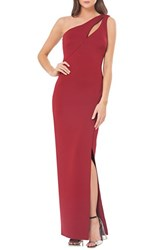 Js Collections Women's One Shoulder Scuba Gown