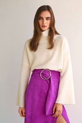 Topshop Suede Belted Pencil Skirt By Boutique Purple