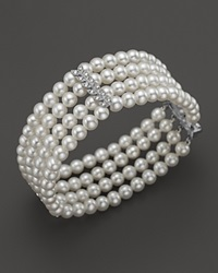 Bloomingdale's Cultured Freshwater Pearl Four Row Bracelet With Diamonds In 14K White Gold