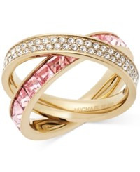 Michael Kors Gold Tone Pave And Square Cut Crystal Crisscross Ring