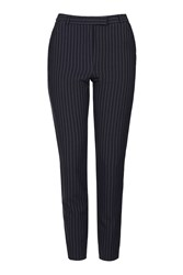 Topshop Tall Pinstripe Cigarette Trousers Navy Blue