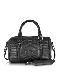 Zadig And Voltaire Xs Sunny Mat Matelasse Leather Satchel W Shoulder Strap Black