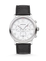 Montblanc Tradition Stainless Steel Alligator Strap Chronograph Watch Silver Black
