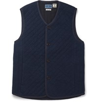 Blue Blue Japan Hahiko Indigo Dyed Quilted Cotton Hopack Gilet Indigo