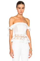 Self Portrait Peplum Corset Top In White
