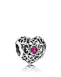 Pandora Design Pandora Charm Sterling Silver And Synthetic Ruby July Signature Heart