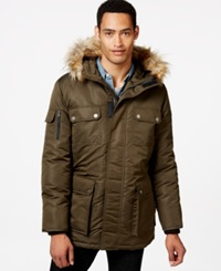 Sean John Faux Fur Hooded Coat Olive
