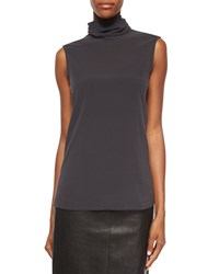 Brunello Cucinelli Matte Silk Turtleneck Top Volcano