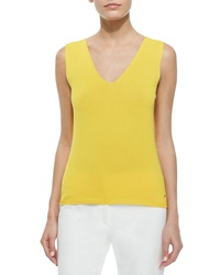 Escada V Neck Stretch Knit Tank Top Sunflower