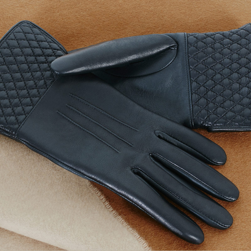 Leather And Cashmere Touchscreen Gloves