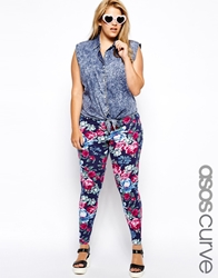 Asos Curve Exclusive Legging In Vintage Floral Print Multi