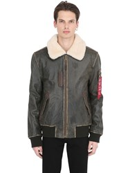 Alpha Industries Injector Iii Shearling And Leather Jacket