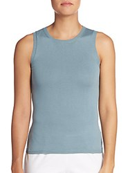 Peserico Cotton Shell Tank Teal Blue