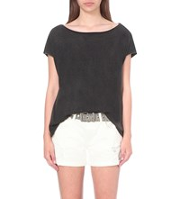 Allsaints Slash Back Cotton Jersey Top Black