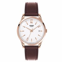 Henry London 39 Mm Unisex Richmond Watch White Rose Gold Brown
