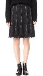 Alexander Wang Flared Skirt With Ring Piercing Seams Black