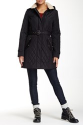 Tommy Hilfiger Quilt Jacket With Faux Fur Trim Black