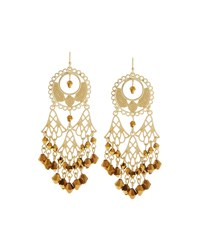Fragments For Neiman Marcus Fragments Golden Filigree Crystal Chandelier Earrings Women's