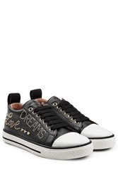 Red Valentino Embellished Leather Sneakers Black