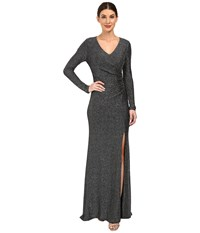 Vince Camuto Long Sleeve V Neck Gown W Side Tucks Black Silver Women's Dress