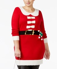It's Our Time Trendy Plus Size Santa Tunic Sweater Christmas Red