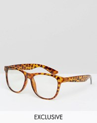 Reclaimed Vintage Glasses With Clear Lens In Tort Brown