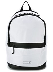 Stampd Two Tone Front Zip Backpack White