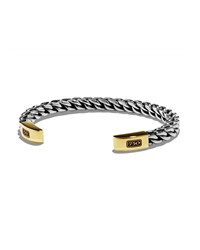 Men's Woven Sterling Silver Gold Cuff Bracelet David Yurman