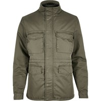 River Island Mens Khaki Quilted Four Pocket Jacket