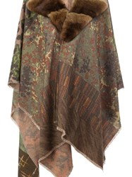 Pierre Louis Mascia Jacquard Collar Detail Poncho Brown